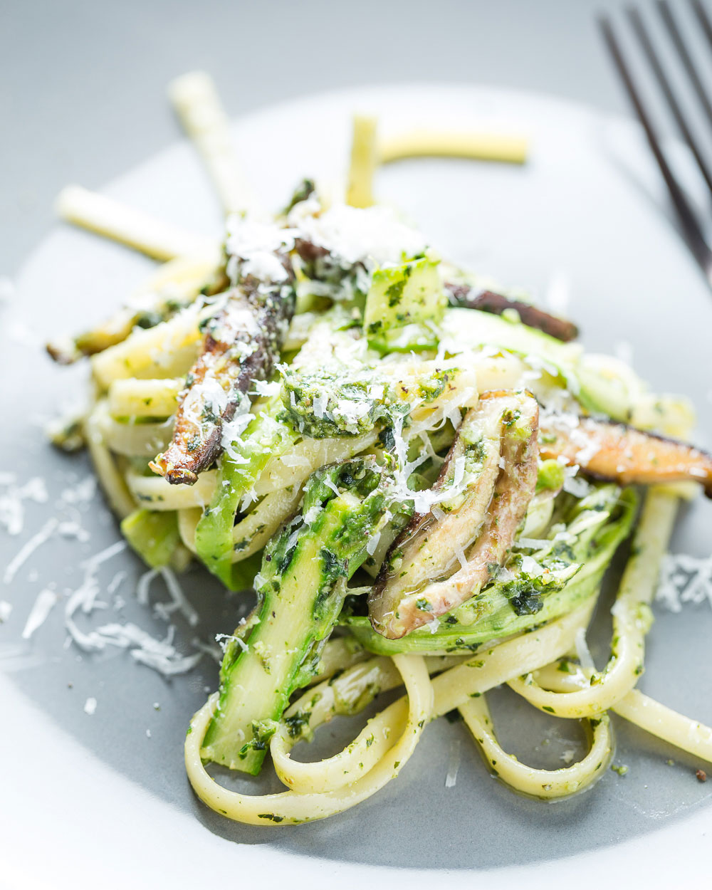Pesto Pasta with Asparagus Ribbons and Shiitake Mushrooms Closeup