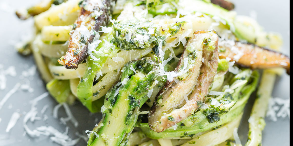 Pesto Pasta with Asparagus Ribbons and Mushrooms